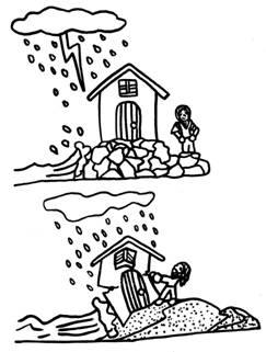 It is a graphic of Persnickety building your house on the rock coloring